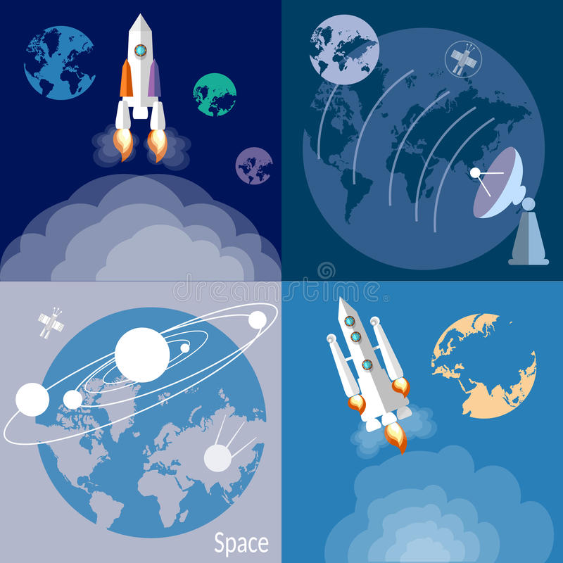 Space rockets, spaceships, planets set vector illustration