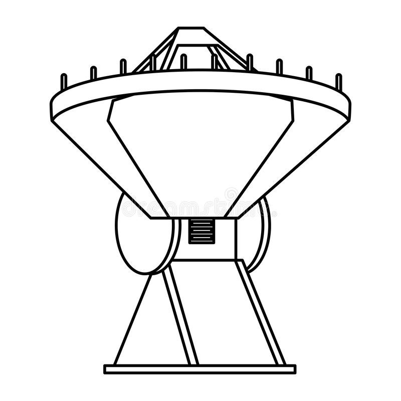 Space satellite in ground symbol isolated in black and white. Space satellite in ground symbol isolated vector illustration graphic design vector illustration