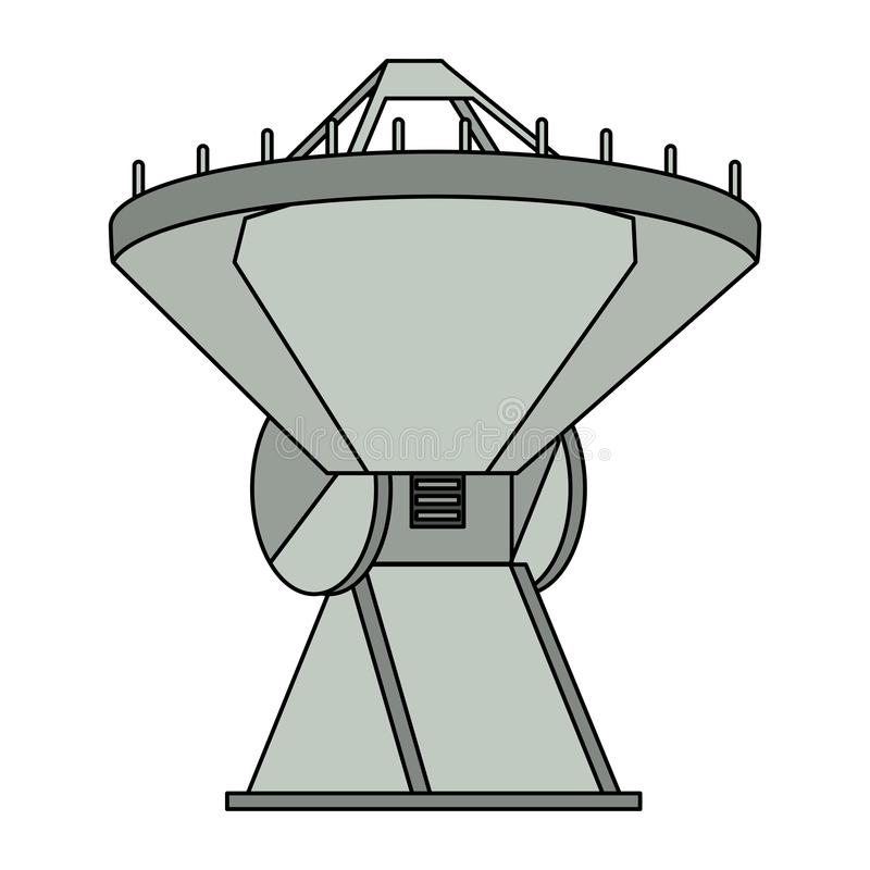 Space satellite in ground symbol isolated vector illustration