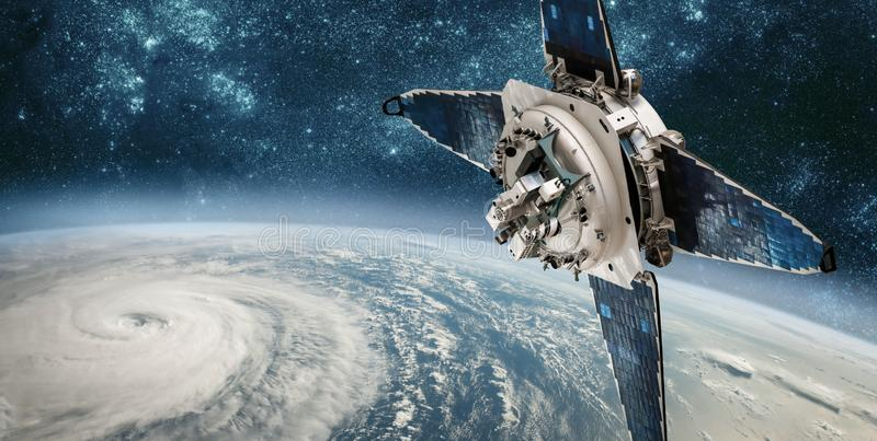 Space satellite monitoring from earth orbit weather from space, royalty free stock photos