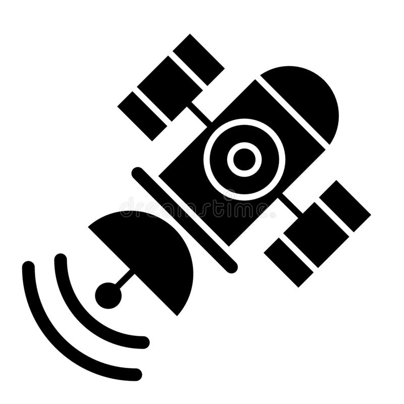 Space satellite solid icon. Sputnik vector illustration isolated on white. Telecommunication glyph style design. Designed for web and app. Eps 10 stock illustration