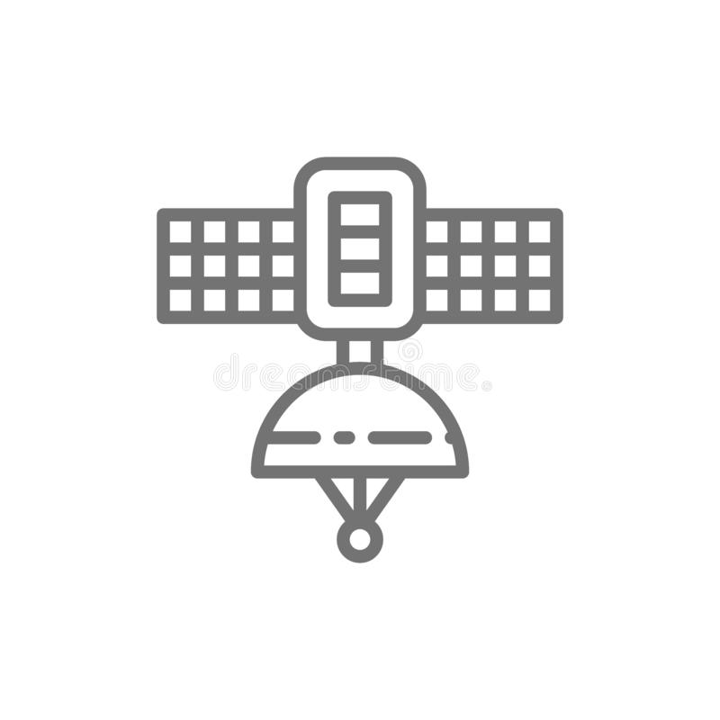 Space satellite station line icon. vector illustration
