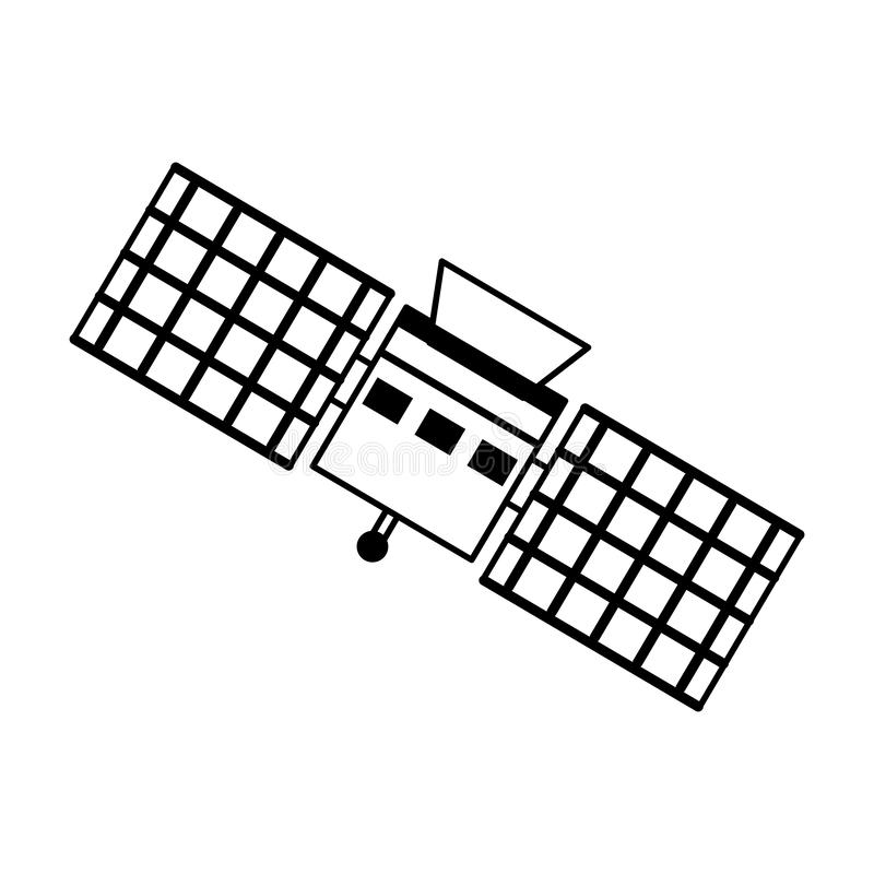 Space satellite technology symbol isolated in black and white vector illustration