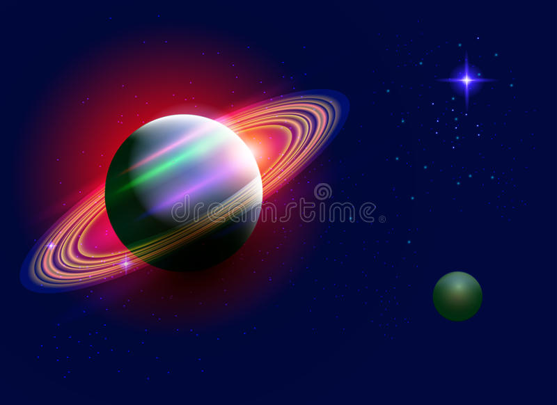 Space saturn. Saturn planet rings and star planet on dark space background, planets in space, realistic space, galaxy, nebula, vector royalty free illustration