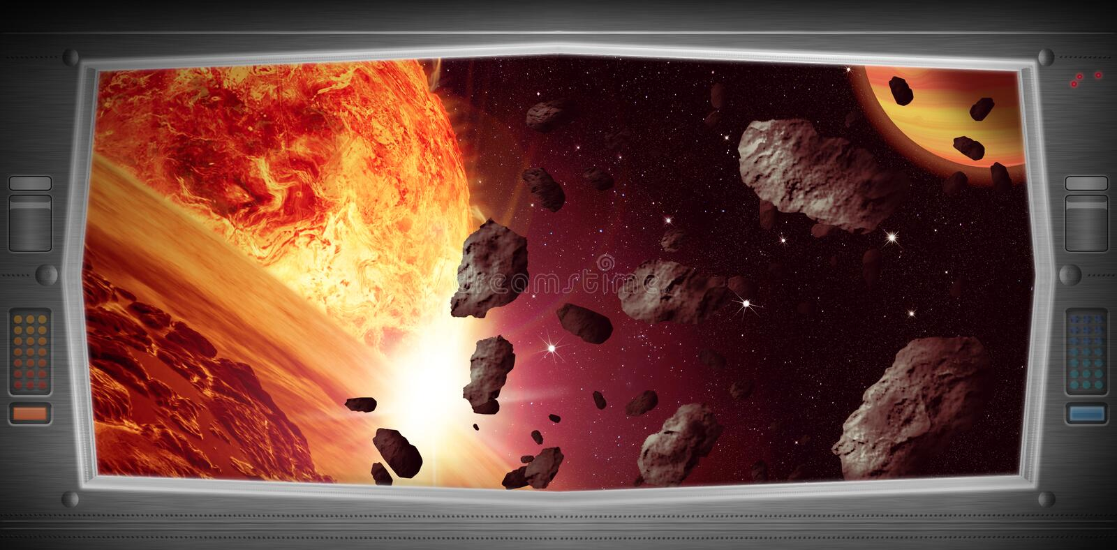 Space scene with asteroids from window view royalty free illustration