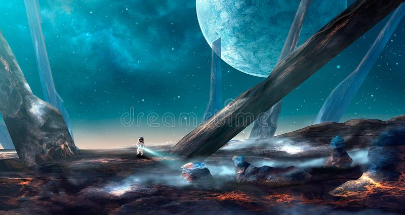 Space scene. Astronaut on lava land with big spike. Blue nebula vector illustration