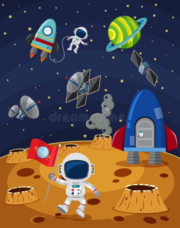 Space scene with astronauts and spaceships royalty free illustration