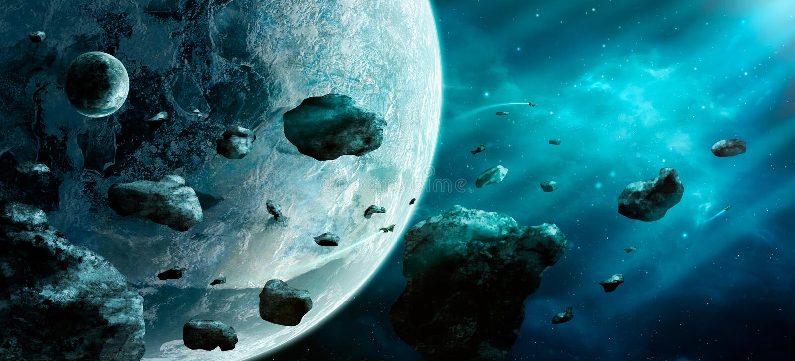 Space scene. Blue nebula with asteroids and two planet. Elements vector illustration