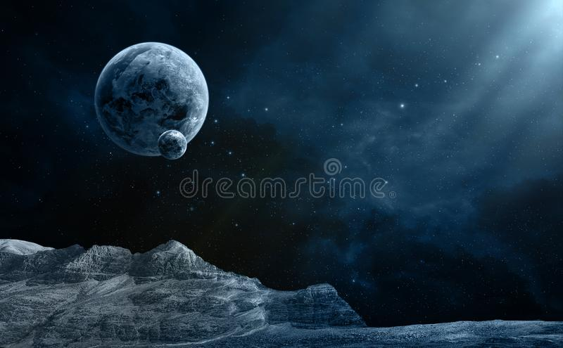 Space scene. Blue nebula with planet and terrain in front. Elements furnished by NASA. 3D rendering stock illustration