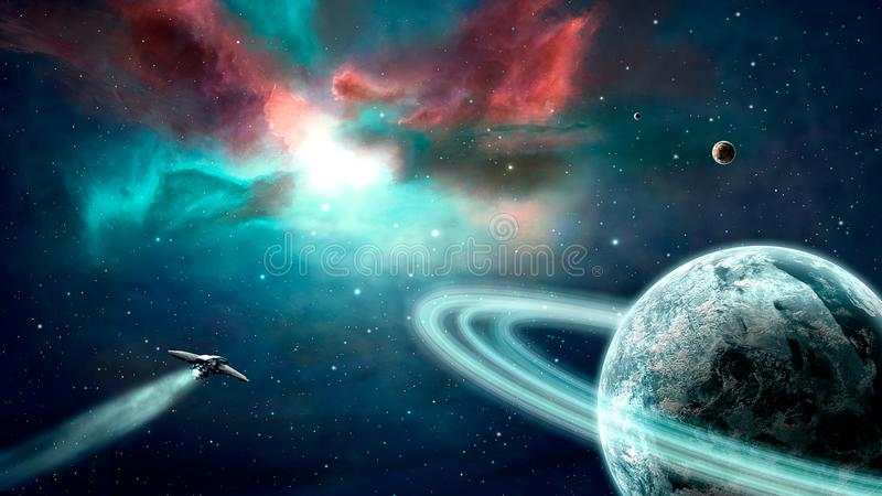 Space scene. Blue and red nebula with planets and spaceship. Elements furnished by NASA. 3D rendering royalty free illustration