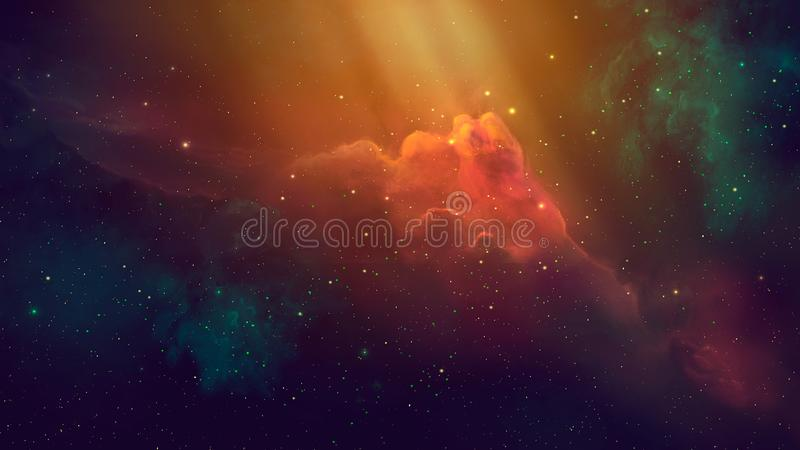 Space scene. Coloful nebula with starfield. Elements furnished by NASA. 3D rendering stock illustration