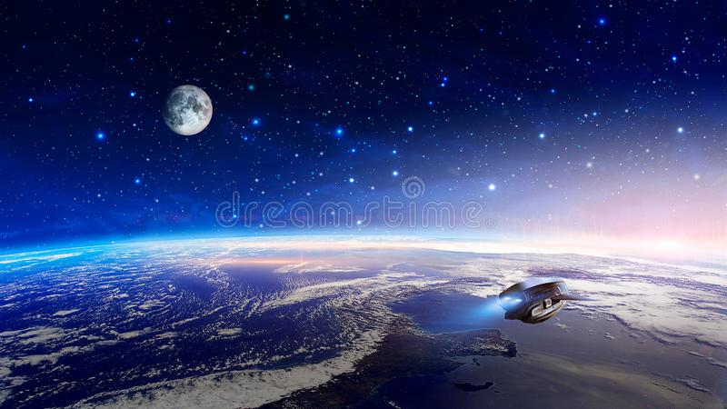 Space scene. Colorful nebula with earth planet, moon and spaceship. Elements furnished by NASA. 3D rendering stock illustration