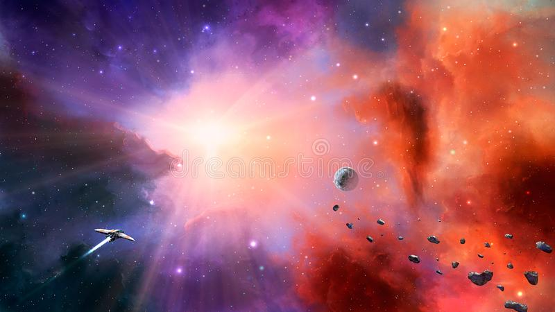 Space scene. Colorful nebula with planet, asteroids and spaceship. Elements furnished by NASA. 3D rendering.  royalty free illustration