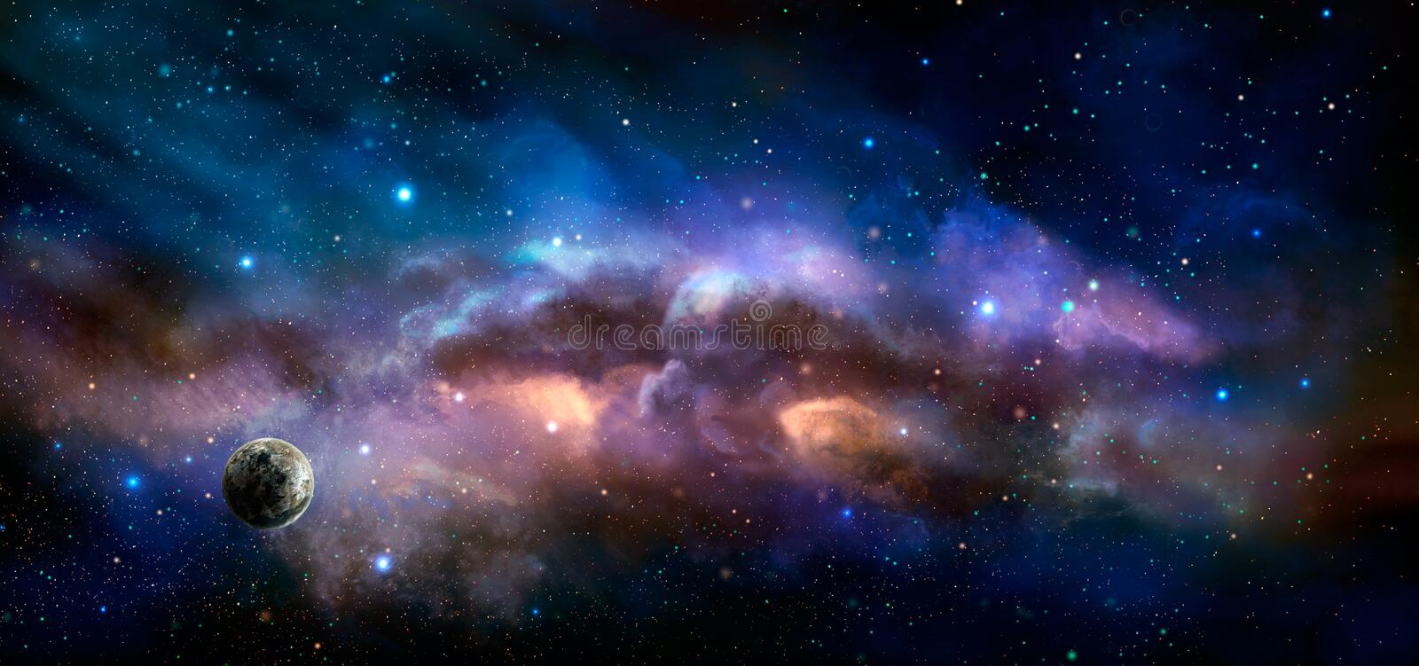 Space scene. Colorful nebula with planet. Elements furnished by. NASA. 3D rendering. Illustration royalty free illustration