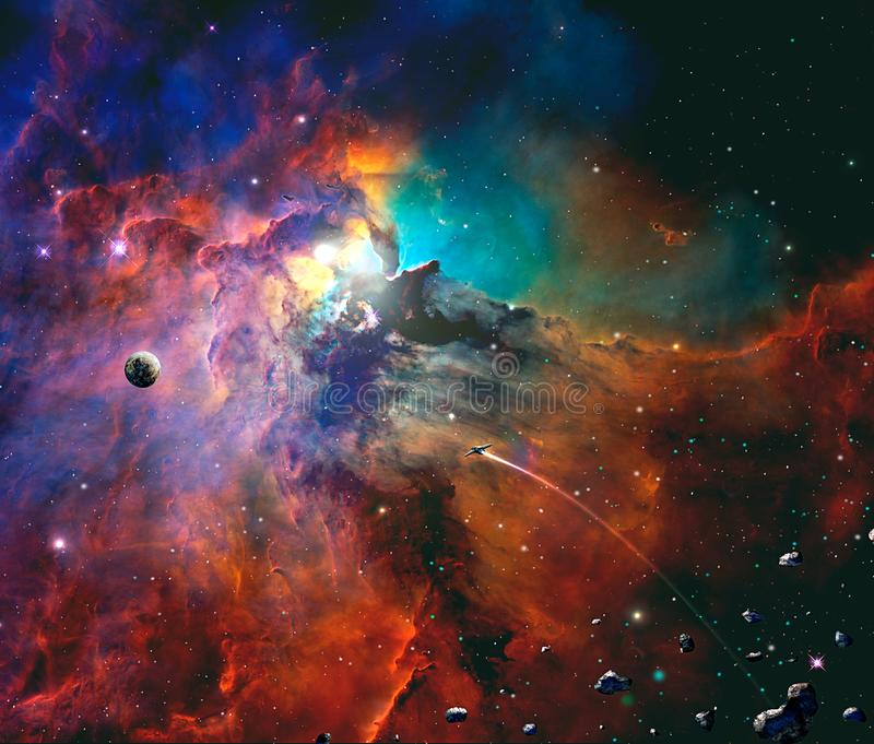 Space scene. Colorful nebula with planet, spaceship and asteroid stock illustration