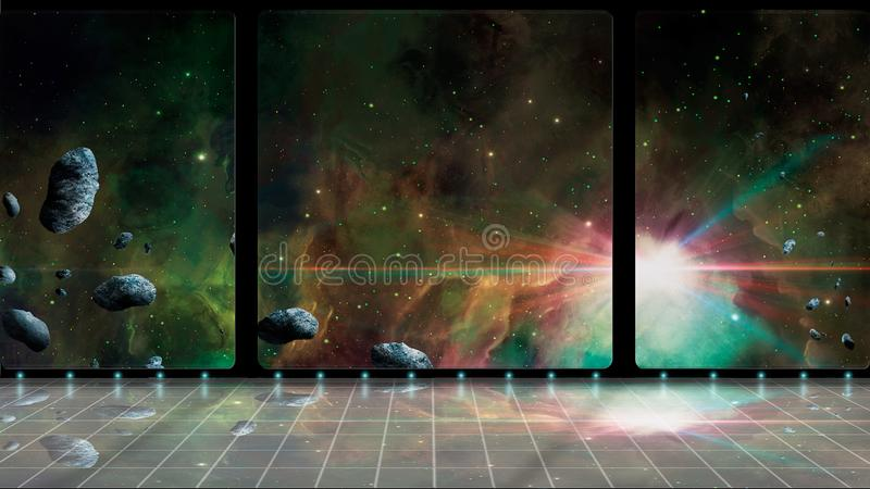 Space scene. 3D room with colorful nebula and asteroid. Elements furnished by NASA. 3D rendering.  royalty free stock photography