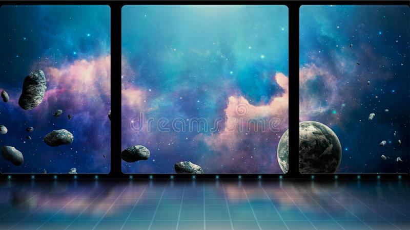 Space scene. 3D room with windows, blue nebula, planet and asteroids. Elements furnished by NASA. 3D rendering.  royalty free illustration