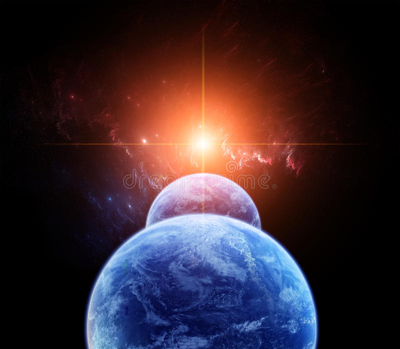 Space Scene with double Planets stock image