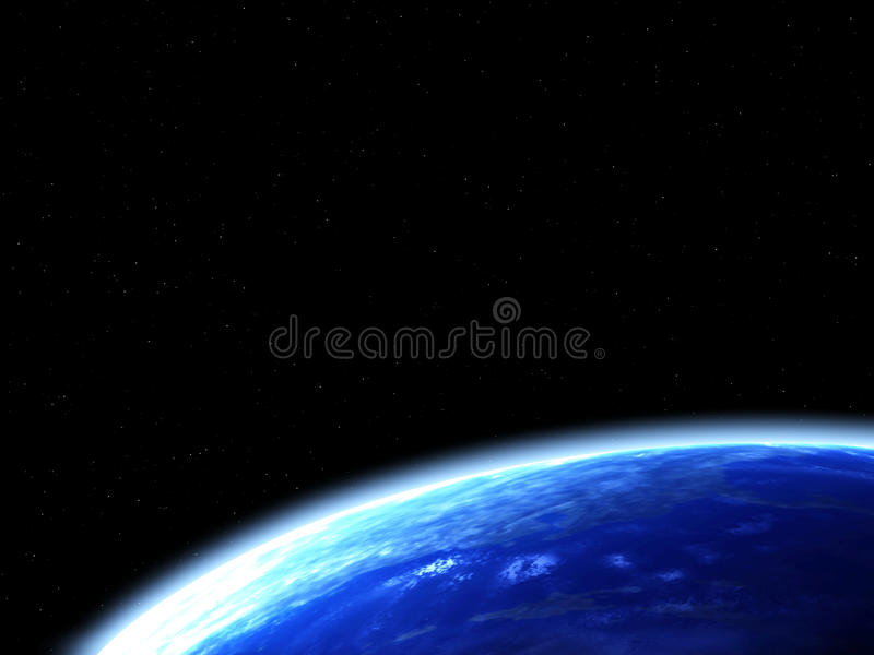 Space scene with Earth stock illustration