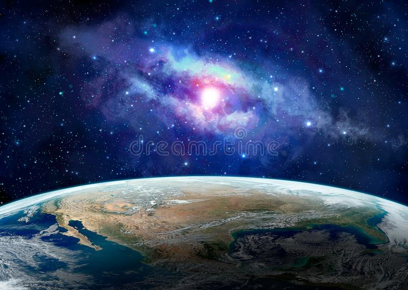 Space scene. Earth planet with blue milky way. Elements furnished by NASA. 3D rendering royalty free illustration