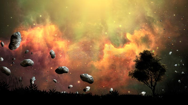 Space scene. Firing nebula with land, tree silhouette and asteroid. Elements furnished by NASA. 3D rendering royalty free illustration