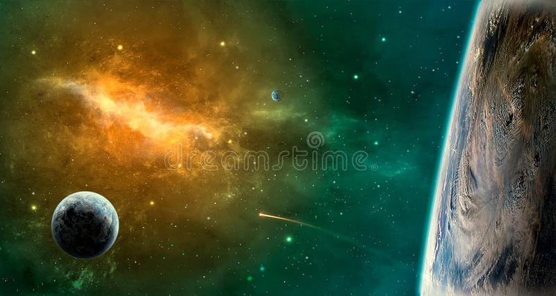 Space scene. Green and orange nebula with planets. Elements furn royalty free illustration