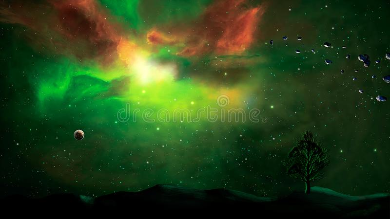 Space scene. Green and red nebula with planet and land silhouette. Elements furnished by NASA. 3D rendering royalty free illustration