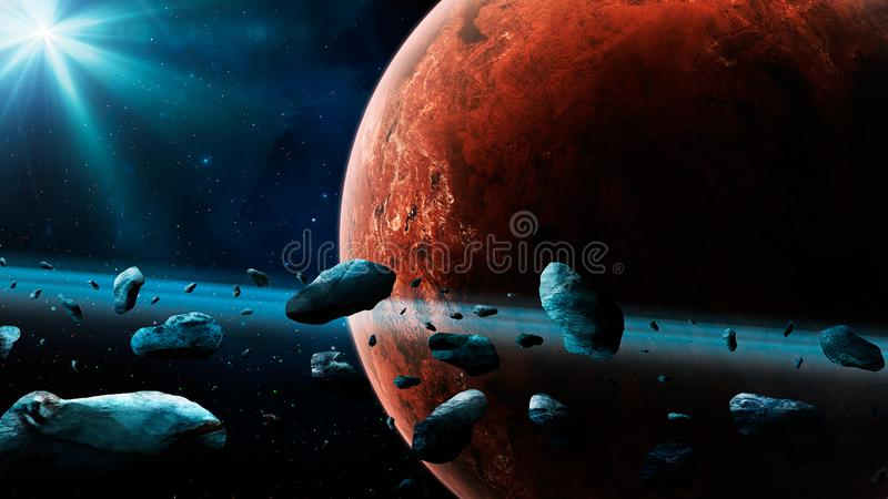 Space scene. Mars planet with asteroid ring. Elements furnished by NASA. 3D rendering stock illustration