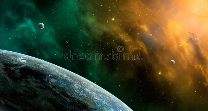 Space scene. Orange and green nebula with planets. Elements furn vector illustration