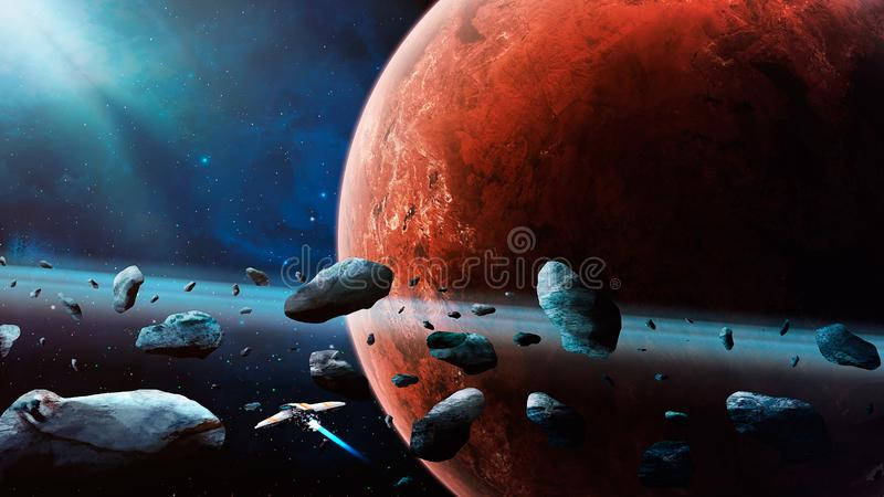 Space scene. Spaceship fly through asteroid with Mars planet on background. Elements furnished by NASA. 3D rendering vector illustration