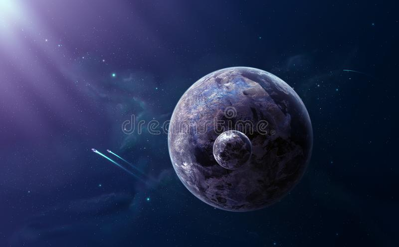 Space scene. Two planet with dark violet nebula and spaceships. Elements furnished by NASA, illustration stock illustration