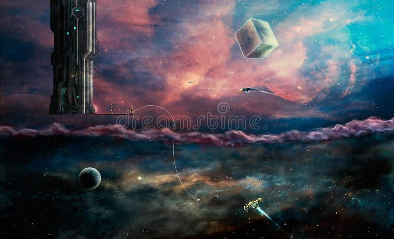 Space scene. Two worlds aliens and our. Elements furnished by NA vector illustration