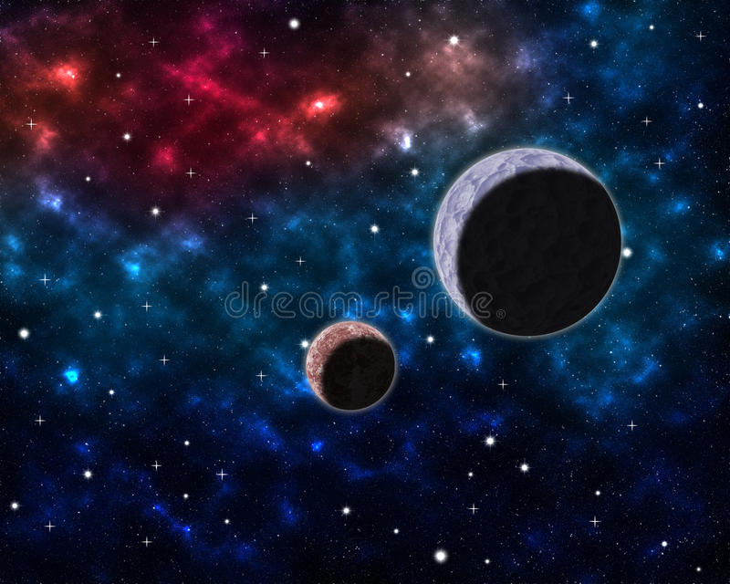 Space scenery with globe planets nebula dusts and clouds and glowing stars in universe background astrological celestial galaxy royalty free illustration