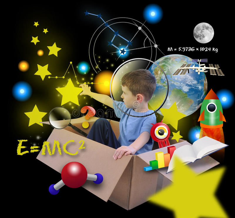 Download Space Science Boy In Box With Stars On Black Stock Image - Image: 28146185