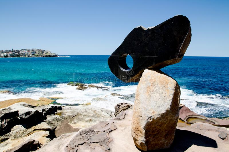 ` space ` is a sculptural artwork by John Petrie at the Sculpture by the Sea annual events free to the public sculpture exhibition. SYDNEY, AUSTRALIA. – stock photos