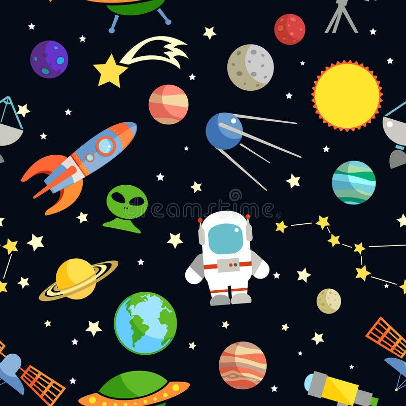 Space seamless pattern vector illustration