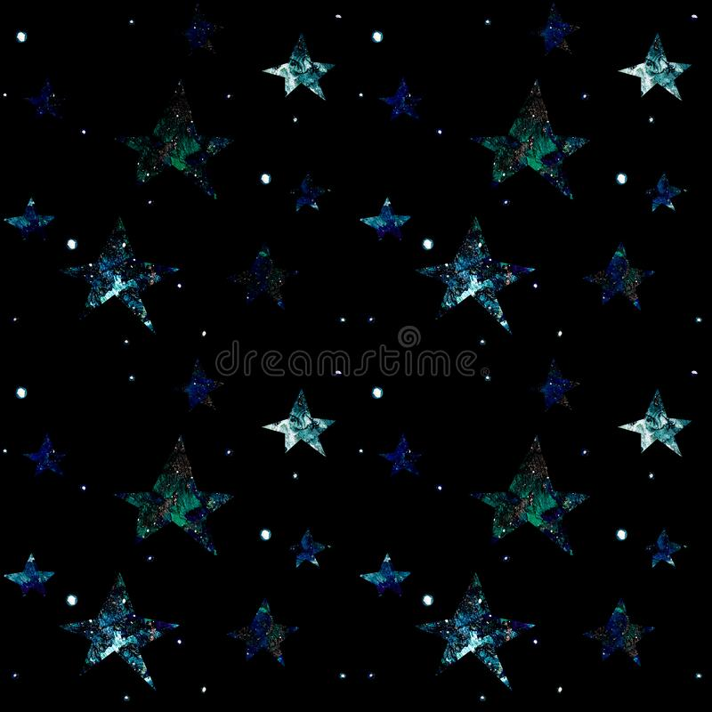 Space seamless pattern on a black background with stars, planets, galaxies. Stars against the night sky stock illustration