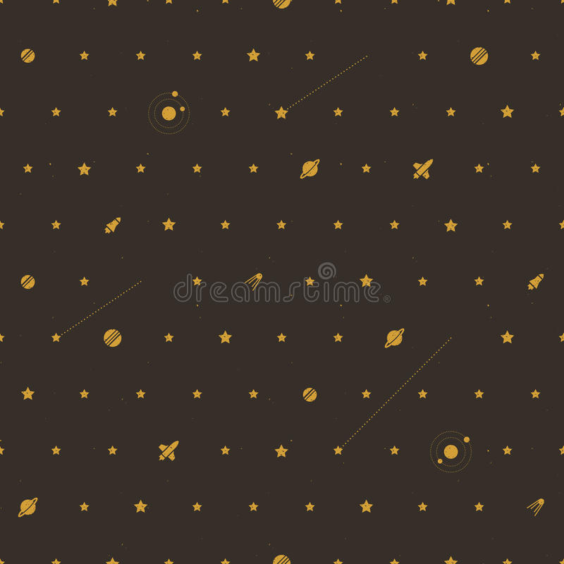 Space seamless pattern in retro style stock illustration