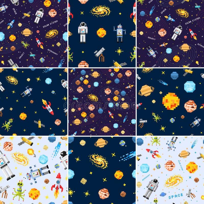 Space Seamless Pattern Set Background, Alien Spaceman, Robot Rocket ...