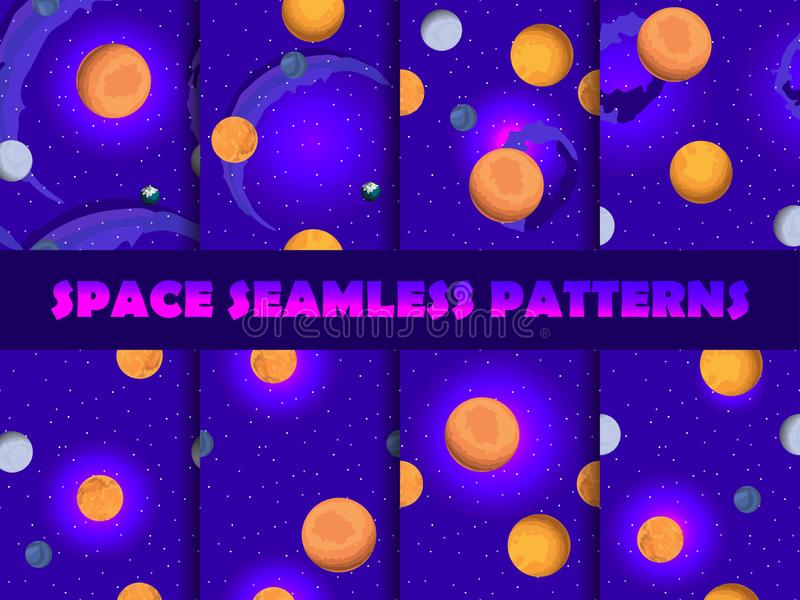 Space seamless pattern set. Background with planets and stars, nebula. Vector stock illustration