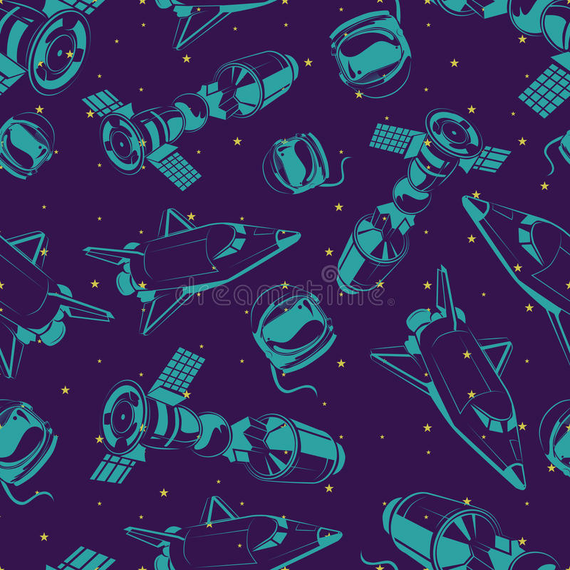Space seamless pattern with shuttle, international space station and stars stock illustration