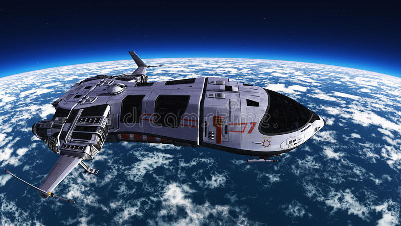 Space ship. Image of space ship and earth stock illustration