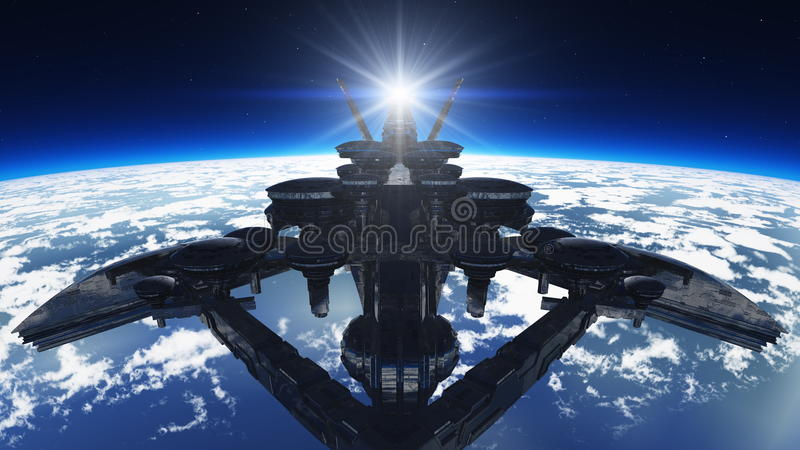 Space ship. Image of space ship and earth vector illustration