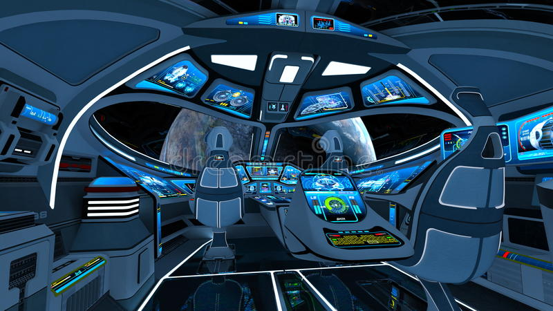 Space ship cockpit. 3D CG rendering of the space ship cockpit stock illustration