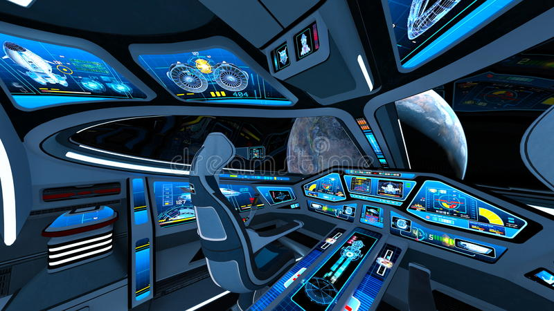 Space ship cockpit. 3D CG rendering of the space ship cockpit royalty free illustration