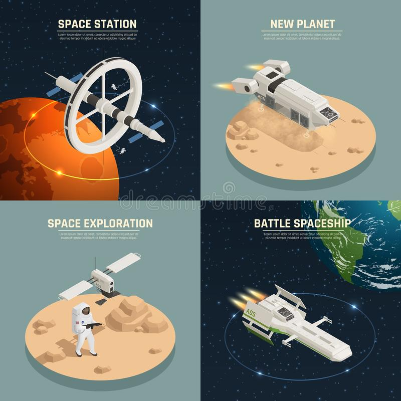 Space Ship 2x2 Design Concept. Space ships and station for exploration and battle 2x2 design concept isolated on colorful background 3d isometric vector royalty free illustration