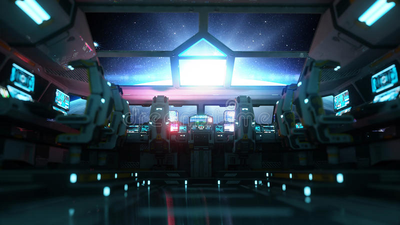 Space ship futuristic interior. Cabine view. Galactic travel concept. 3d rendering. Space ship futuristic interior. Cabine view. Galactic travel concept. 3d stock illustration