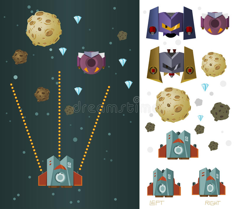 Space ship game asset. Vector royalty free illustration