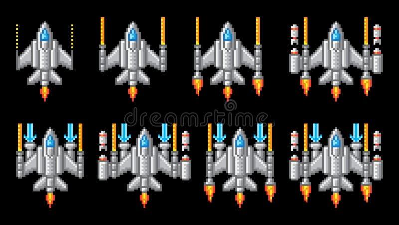 Space Ship Pixel Art Video Arcade Game Cartoon stock illustration