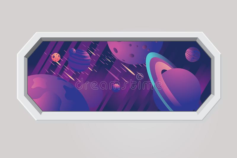 Space ship porthole. Futuristic window with galaxy sky, stars and planet. Rocket vector interior. Cosmic travel royalty free illustration